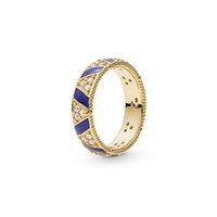 ingrosso monili di pietra blu 925 argento-NUOVO oro giallo 18 carati placcato anello box set originale di Pandora 925 Jewelry Blue Stripes Pietre del regalo dell'anello delle donne degli uomini ANELLO