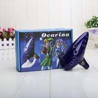 ingrosso manopole in ceramica blu-Manopole e tiranti in ceramica Blu 12 Fori Ocarina Cottura in forno a legna Alto C Legenda di Zelda Zelda Ocarina Flauto di tempo Azione Jingdezhen
