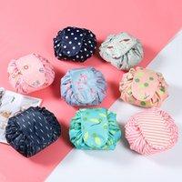 Wholesale cosmetic barrel bag resale online - Flamingo Lazy Drawstring Cosmetic Bag Multi function Travel Magic Pouch Portable Wash Bag Makeup Organizer Storage Bags RRA1692