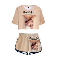 números de seda al por mayor-Ariana Grande Trend Number Printing 3D Navel Manga corta T Pity Shorts Traje Mujer