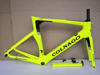 quadro completo de bicicleta de fibra de carbono venda por atacado-Colnago amarelo fluorescente conceito de bicicleta de estrada quadro de carbono de fibra de carbono completo quadro de bicicleta de estrada 48 50 52 54 56 cm quadros de carbono T1000