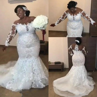 Wholesale dresses tops online - Sheer Long Sleeves Lace Mermaid Plus Size Wedding Dresses Mesh Top Applique Beaded Court Train Wedding Bridal Gowns Vestidos De Novia