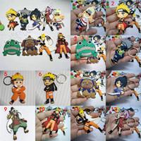 naruto llavero anime al por mayor-12 más calientes del estilo del animado llavero llavero llavero Naruto regalo de los niños juguetes de PVC juguetes para niños de la cadena dominante del envío libre