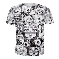 Wholesale Ahegao D Printed Mens Tshirts White Male Summer Short Sleeved Tops Tee Clothing