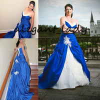 Wholesale wedding dress garden lace up online - Royal Blue and White Gothic Wedding Dresses Vintage Sweetheart Lace Stain Lace up Corset Church Garden Bridal Wedding Gown