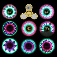 Wholesale fidgets spinners resale online - Cool coolest led light changing fidget spinners toy kids toys auto change pattern styles with rainbow light up hand spinner