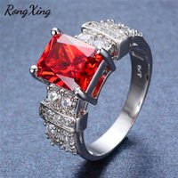 Wholesale geometric rings for sale - RongXing Big Geometric Red Zircon KT Rings for Women Vintage Fashion Silver Color Ring Female White Crystal Engagement Jewelry