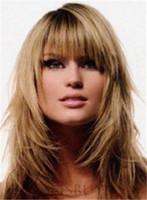 длинные волосы, слоистые парики оптовых-Слоистый стиль Длинные прямые 100% человеческие волосы привлекательный светлый парик