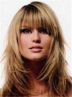 lange haarschichtige perücken großhandel-Geschichtetes langes, langes, gerades 100% Echthaar Attraktive Blonde Perücke