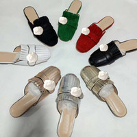 Wholesale sandals words resale online - Classic Leather slippers One word slippers flat soled half slippers Fringed metal buckled sandals Designer Ladies shoes Large size us11