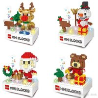 ingrosso gruppi di plastica-Natale Building Blocks 3D Assemblea Babbo Natale cervi pupazzo di neve portano ABS Plastic Miniature Action Figures pacchetto del contenitore di giocattoli per i bambini