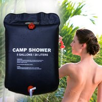 Wholesale solar showers resale online - Outdoor shower bag wild portable thickening solar hot water bottle L bath bag drying bag LJJZ502