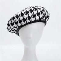 Wholesale elegant fall hats for sale - Group buy Cool YY Autumn Berets Cap Winter Hats for Women French Houndstooth Beret Flat Cap Plaid Elegant British Style Lady Painter Bonne