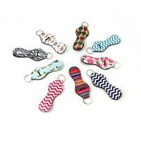 dudak tutucu toptan satış-Ruj Tutucu Anahtarlık Anahtarlıklar Neopren Chapstick Anahtarlık Tutucu 10 Farklı Canlı Baskılar ile Dudak Balsamı Tutucu Anahtarlık