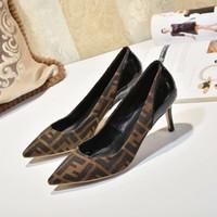 kahverengi parmak ayakkabıları toptan satış-2019 Kadınlar Lüks Tasarımcı Elbise Ayakkabı Yüksek Topuklu Örgü Ve Siyah kahverengi Deri Parti Bayan Moda Sivri Toes Mahkemesi Düğün Ayakkabı