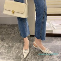 Wholesale closed toed sandals for sale - Group buy 2020 Summer Fashion Women White Black Low Heels Sandals Closed Toe Crystal Slingback Sandals Luxury Designer Party Shoes cc9