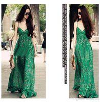 las mujeres visten floral gasa verde al por mayor-Mujeres de la manera Casual Bohemia Beach gasa floral Maxi vestidos largos impresión verde correa de espagueti sin mangas sin espalda V cuello verano