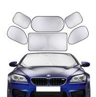 araba güneş gölge katlanabilir toptan satış-Otomobil Katlanır Cam Siperlik Kapak Sun Gölge Isı Kalkanı Blok Ön Cam Güneşlik UV Protect Oto Güneşlik Araç-kapaklar 6 Adet