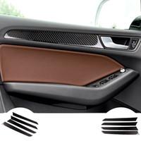 audi a4 aufkleber großhandel-Carbon Car Interior Co-Pilot Armaturenbrett Panel Aufkleber Aufkleber Abdeckung Zierleisten Trim Zubehör 4 Stück für Audi A4 B8 für vier Türen
