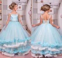 ingrosso bei vestiti per natale-Ruffle Princess Girls Pageant Abiti Perline bianche e blu Lace Up Back Flower Girl Dress Bella Ball Gown Ragazze Abiti Natale BC2079