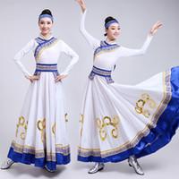 danse swing achat en gros de-De haute qualité 2019 vêtements de danse des minorités mongole grande balançoire jupe costumes prairie adulte femme moderne performance vêtements