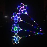 сверкающие палочки оптовых-Форма сливы LED BOBO Balls Прозрачные воздушные шары 5 Mode Вспышка цвета Игристые светодиодные фонари Bobo 18 дюймов с ручкой