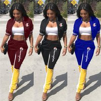 Wholesale girls sets jacket resale online - Women Champions Tracksuit Short Sleeve Zipper Jacket Crop Top Pants Leggings Piece Set Letter Embroidery Outfit Spring Sportswear C3205