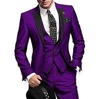 mens calças de vestido azul royal venda por atacado-Noivo Smoking Preto Pico Lapela Padrinhos Mens Wedding Dress Moda Homem Jaqueta Blazer Prom / Dinner 3 Peça Terno (Jacket + Pants + Vest + Tie) 1426