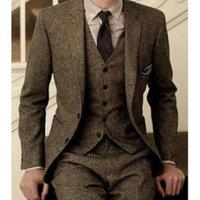 tweed suit men venda por atacado-2019 Homens Do Vintage Ternos De Lã Tweed 3-Piece Brown Espinha De Peixe Terno Personalizado Slim Fit Noivo Desgaste Do Casamento Do Smoking