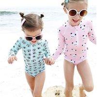 bebek panda giysileri toptan satış-Upf 50 + Çocuklar Mayo Yaz Bebek Kız Bikini Suit Panda Gözler Uzun Kollu Mayo Erkek Yüzme Tek parça Yüzme Giysileri Yeni Y19050602