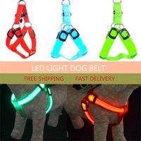 arneses led dhl al por mayor-LED intermitente Cinturón de arnés del perro Cinturón para mascotas Gato para perros Atadura Collares ligeros de seguridad Suministros para mascotas 6 colores 3 tamaños DHL libre