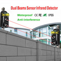 ev alarm sistemi kızılötesi sensör toptan satış-Kablolu Ev Hırsız Güvenlik Alarm Sistemi 30m ~ 150m Açık Çevre Duvarı için Çift Kızılötesi Kirişler Sensör Dedektör
