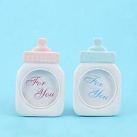 moldura de garrafa venda por atacado-Lovely Baby Blue Pink Bottle Forma Photo Frame Para Baby Shower aniversário do doce Crianças Fontes Home Decor
