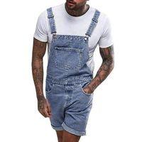 мальчики джинсы брюки общий оптовых-2019 New Stylish Garment Men's Plus Pocket Jeans Overall Jumpsuit Cool Boy Streetwear Overall Suspender Pants 3XL Ropa de hombre