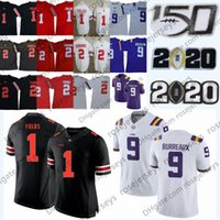 Wholesale field game for sale - Group buy 2020 LSU Tigers Joe Burrow Jersey BURREAUX Ohio State Justin Fields Uniform JK Dobbins Chase Young CFB TH College Football Playoffs Game