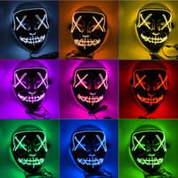 boca livre halloween máscara venda por atacado-EL Fio Fantasma Máscara Fenda Boca Light Up Incandescência Máscara LED Halloween Cosplay Máscaras de Partido Máscara de Fulgor 10 Cores Livre DHL
