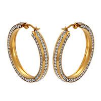 büyük paslanmaz çelik takı toptan satış-Büyük Rhinestones Hoop Küpeler Paslanmaz Çelik Altın Renk Yuvarlak Lüks Küpe Kadınlar Bayanlar Için Moda Takı Düğün Hediyesi