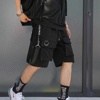 pantalones cortos elásticos de carga para hombre al por mayor-Hombres punk rock hip hop shorts cintas hiphop cargo shorts para hombre negro casual desgaste de calle pantalones elásticos cortos con muchos bolsillos