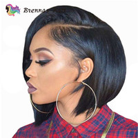 ingrosso beyonce capelli brasiliani-Pixie Cut corto Blunt bob parrucche 100% capelli umani vergini parrucche brasiliane per le donne nere 13 * 4 Frontal pizzo naturale parrucche pre-increspate