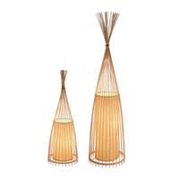 chão japonês venda por atacado-Lâmpada de Assoalho de Bambu moderno Simples Criativo Tea Room Piso Leve Lâmpadas de Mesa De Madeira Oriental Asiático Japonês Luzes Lâmpadas de Arte AL386