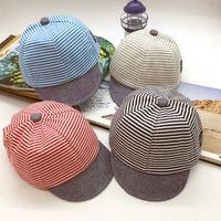 Wholesale baseball cap toddler for sale - Toddler Cotton Striped Baseball Cap Kid Casual Soft Travel Sun Cap Outdoor Baby Fashion Sport Snapback Ball Hats TTA749