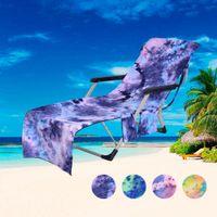 ingrosso giardino caldo-Beach Chair Cover Hot Lettino Mate Beach Asciugamano Single Layer Tie-dye Lettino Lettino Vacanza Garden Beach Copertura della sedia CCA11689 10 pz