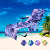 Wholesale chair towels resale online - Beach Chair Cover Hot Lounger Mate Beach Towel Single Layer Tie dye Sunbath Lounger Bed Holiday Garden Beach Chair Cover CCA11689 A