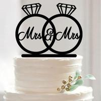 anillos de boda pastel de cumpleaños al por mayor-Venta al por mayor- 2016 Nuevo Wedding Cake Topper Acrílico Mr and Mrs Rings Cute Birds Romantic Wedding Decoration Mariage