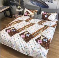 ingrosso biancheria con cerniera-Set biancheria da letto Europa e America Lettera Zipper Pattern Design Suit Bedding New Stripe Spring Autumn Bed Sheet Suit
