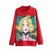 sudadera de moda damas al por mayor-WY887 Moda de primavera Color rojo Muchacha hermosa Carácter Imprimir jerseys Sudaderas Damas ocasionales sueltos Red Jumpers Tops