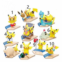 karikatür plaj oyuncakları toptan satış-10 stil En çok satan Dedektif Pikachu pvc Plaj Pikachu bebekler oyuncaklar karikatür hayvanlar oyuncaklar mefruşat ürünleri dekorasyon en iyi Hediyeler L