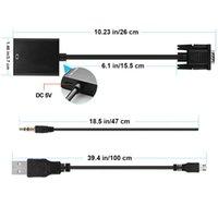 ingrosso hd adattatore vga-Adattatore convertitore cavo video VGA maschio a HDMI 1080P HD + Audio TV AV HDTV