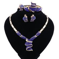 Wholesale dark blue bridal jewelry resale online - African Dubai Bridal Jewelry Sets For Women Wedding Crystal Gold Color Necklace Earrings Bracelet Ring Set