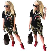 Wholesale designer blocks resale online - Shark Print Women Two Piece Outfits Patchwork Designer Tracksuits Camouflage Color Block T shirts Shorts Cartoon Shorts Sportswear C61404